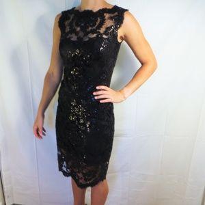 Tadashi Shoji Sequin and Lace Dress - Black